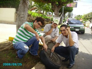 Decks, UngaMan and Alex, changing a flat tire in Nicaragua