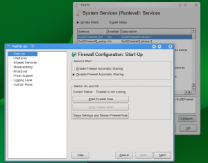 YaST Firewall module invoked from YaST System Services module