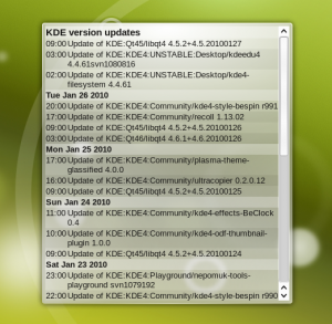 KDE version updates shown in the News widget