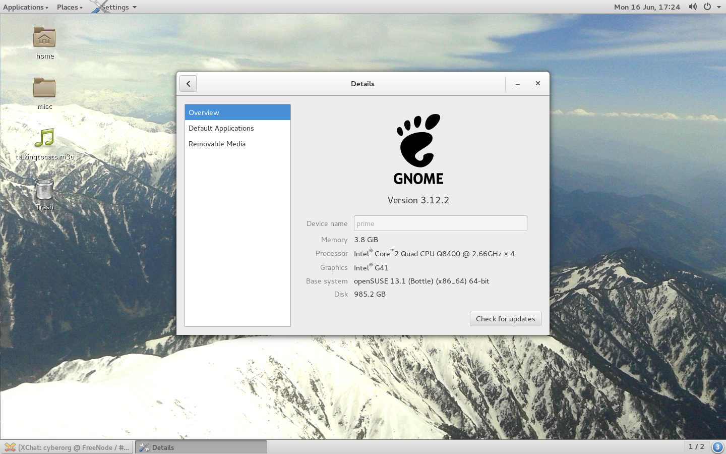 GNOME 3.12 classic running on openSUSE 13.1