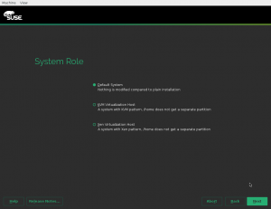 System Role dialog
