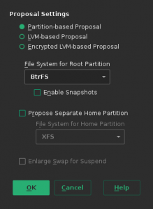 New dialog for partitioning proposal