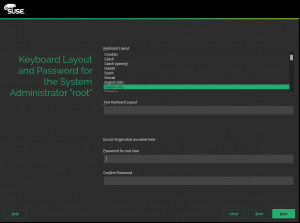 Keyboard layout and root password screen