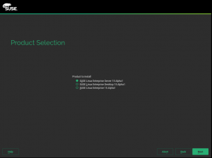 The new product selection screen
