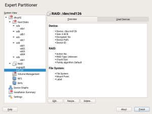 Partitioner displaying an inactive RAID array