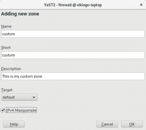YaST2 Firewall custom zones definition dialog