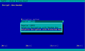 Encrypting swap with volatile protected keys