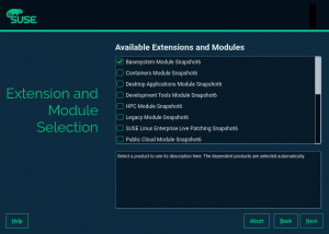 Modules selection during SLE installation